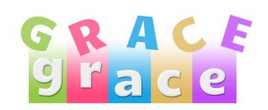 Grace Colorful Random Text Stripes stock illustrationer