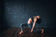 Grace female dancer, contemp dance. Gymnastic exercise in ballroom Stock Image