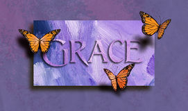 Grace and free butterflies. Graphic composition of the Christan Biblical concept of `Grace`. Digital art composed of type and illustration against hand painted Royalty Free Stock Images