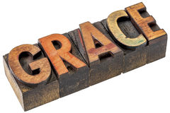 Grace word abstract in letterpress wood type Stock Photos