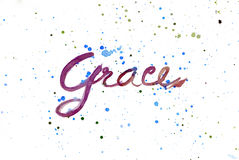 Grace word watercolour design hand drawn. Stock Photography