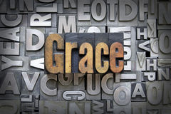 Grace. Written in vintage letterpress type Royalty Free Stock Photo