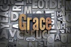 Grace. Written in vintage letterpress type royalty free stock photo