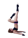 Graceful athletic girl doing stretching in studio Stock Photography