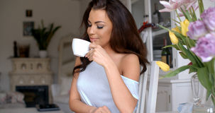Graceful attractive woman drinking a cup of tea Royalty Free Stock Photo