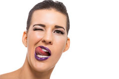 Graceful attractive woman with purple lips Royalty Free Stock Photos
