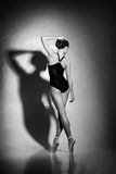 Graceful ballerina dancing in an art performance Royalty Free Stock Images