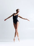 Graceful ballerina dancing in a studio Royalty Free Stock Photography