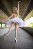Graceful ballerina doing dance exercises on a Royalty Free Stock Image