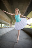 Graceful ballerina doing dance exercises on a Stock Image