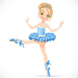 Graceful ballerina girl dancing in blue dress Royalty Free Stock Images