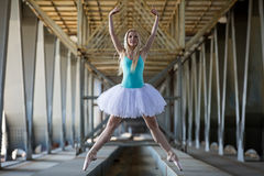 Graceful ballerina in the industrial background Royalty Free Stock Photo