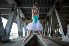 Graceful ballerina in the industrial background Royalty Free Stock Photography