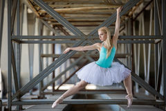 Graceful ballerina in the industrial background Stock Photography