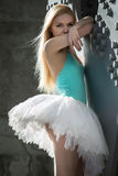 Graceful ballerina in the industrial background Royalty Free Stock Photos