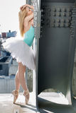 Graceful ballerina in the industrial background Stock Images