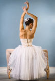 Graceful ballerina rear view. Isolated studio shot Royalty Free Stock Images