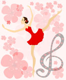 Graceful ballerina in red Royalty Free Stock Photos