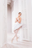 Graceful ballerina standing in the doorway Royalty Free Stock Photo