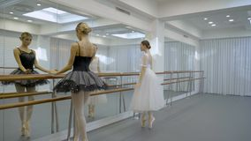 Graceful ballerinas dance near barre in ballet studio. Two women move actively, turning with slender body, raising hands up in front of mirror on wall stock video