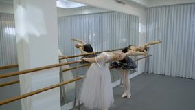 Graceful ballerinas are practicing by bar in modern studio. Two ballet dancers are engaged in choreography using barre in room. Attractive women move stock video footage