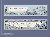 Graceful banner design with butterflies Stock Images