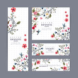 Graceful banner template design with lovely floral pattern Royalty Free Stock Images