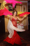 Graceful belly dancer with  fans Royalty Free Stock Photography