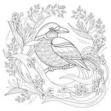 Graceful bird coloring page. In exquisite style vector illustration