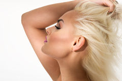Graceful blond woman with closed eyes Royalty Free Stock Image