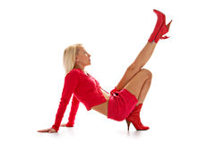 Graceful blonde in red Royalty Free Stock Photos