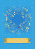 Graceful Blue Card. Ring of flowers and hearts Stock Photography