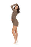 Graceful brunette with long legs posing Stock Photography