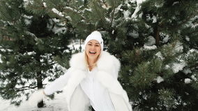 Graceful and cheerful woman laugh on winter landscape stock video footage