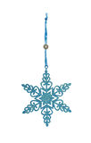 Graceful Christmas ornament, difficult brilliant snowflake. Isolated on a white background Royalty Free Stock Photos