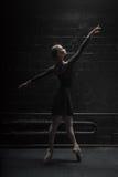 Graceful dancer posing in the dark room Stock Photos