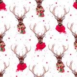 Graceful deer wearing winter scarves seamless vector print Royalty Free Stock Photo