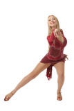 Graceful female performer of ballroom dancing Royalty Free Stock Images