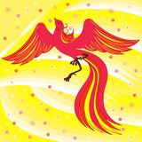 Graceful Firebird on abstract background. Beautiful graceful red firebird on abstract background with yellow shades. Hand drawing vector illustration Royalty Free Stock Images