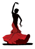 Graceful flamenco dancer on white background Royalty Free Stock Photos