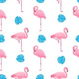Graceful flamingos and monstera leaves. Tropical summer seamless pattern.  vector illustration