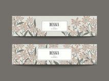 Graceful floral banner set design Royalty Free Stock Photography