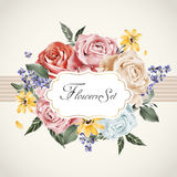 Graceful floral card template Stock Photography