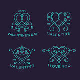 Graceful Floral Valentine Line Style Vector Heart Stock Photos