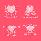 Graceful Floral Valentine Line Style Vector Hearts Royalty Free Stock Photo