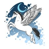 Silhouette of flying pegasus. Magic winged horse. Vector hand drawn illustration. Graceful fluying horse in blue skies. Crescent moon and stars Royalty Free Stock Photography