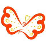 Graceful flying red butterfly with a yellow pattern.  royalty free stock photo
