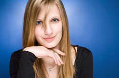 Graceful friendly young blond woman. Stock Photo
