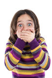 Graceful gesture of a girl covered his mouth. On a white background Stock Photos