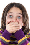 Graceful gesture of a girl covered his mouth. On a white background Royalty Free Stock Image